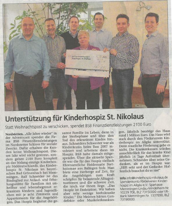 Zeitungsartikel Südwest Presse, Dezember 2015 - Spende
